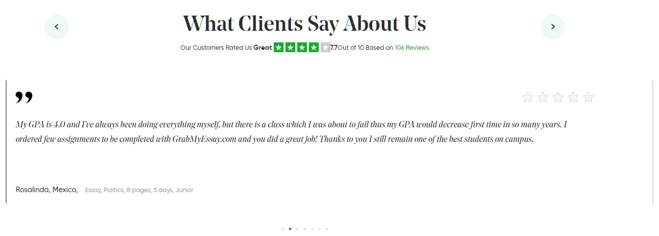 Grabmyessay.com testimonials